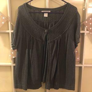 Sweaters - Gray Short Sleeve Cardigan